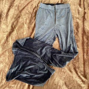 Blue Velvet Pull-Ring Flare Pants NWT
